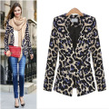 2016 New European Fashion Women Jacket Blazer Classic Leopard Print Sexy Female V-neck OL Suit Outerwear