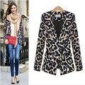 2016 Nova Europa Moda Feminina Jaqueta Blazer Clássico Estampa de Leopardo Fêmea Sexy Com Decote Em V OL Suit Casacos