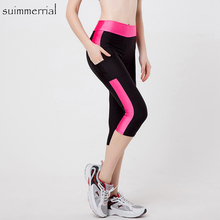 5XL Women Sexy Side Pocket Striped Leggings Fitness Capri Pa