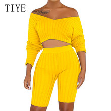 TIYE Women Pit Cloth Jumpsuits Autumn Off Shoulder Long Sleeve Bodycon Bandage Playsuits Casual Two Pieces Sets Elegant Rompers