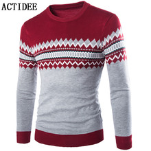 ACTIDEE New Autumn Fashion Brand Casual Sweater O-Neck Striped Slim Fit Knitting Mens Sweaters And Pullovers Men Pullover Men 5z