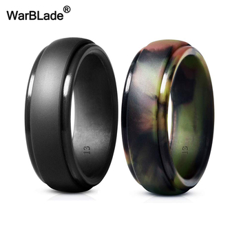 WarBLade New Food Grade FDA Silicone Rings Men Wedding Rubber Bands Hypoallergenic Flexible Antibacterial Silicone Finger Ring 3