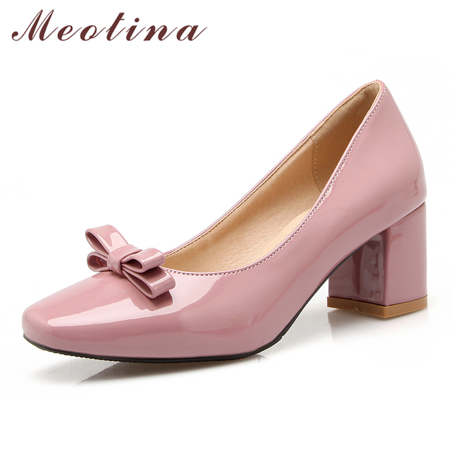 Meotina Women Shoes Thick High Heels Patent Leather High Heel Pumps Work  Bow Square Toe Female Shoes Red Pink Gray Big Size 3 43 ad59075701cd
