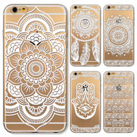 Phone Case for iPhone 4 4s 5 5s SE 6 6s 6Plus 6s Plus Soft Silicon Transparent Vintage White Datura Paisley Flower Covers