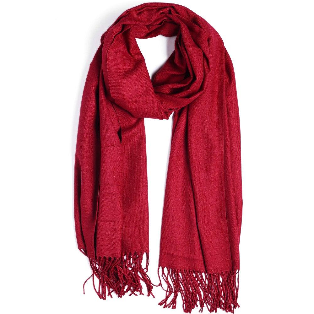 Fashion Cashmere   Scarf   Shawl Solid Autumn Winter   Wrap   Warm High Quality Soft Hijab Thick Lady Women Pashmina Luxury Burgundy