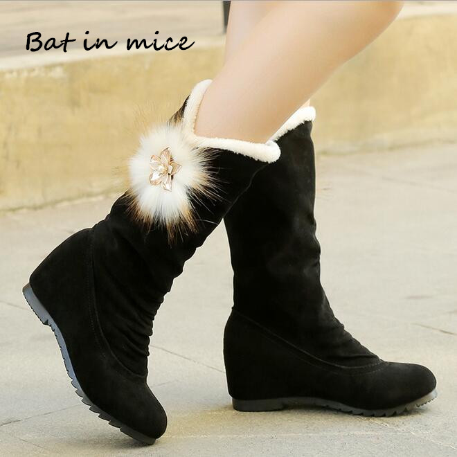 Winter Women Snow Boots women Warm Fur Slip On 5cm High Heels shoes women Casual Mid Calf Boots Women Mujer Plus Size 35-40 W178 fashion new ladies non slip winter women casual warm fur mid calf boots women flat round toe slip on snow boots women mujer w172
