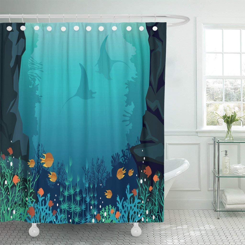 Us 15 73 41 Off Shower Curtain With Hooks Underwater Sea With Colorful Coral Reef Fishes And Silhouette Of Two Stingrays Tropical Bathroom In Shower