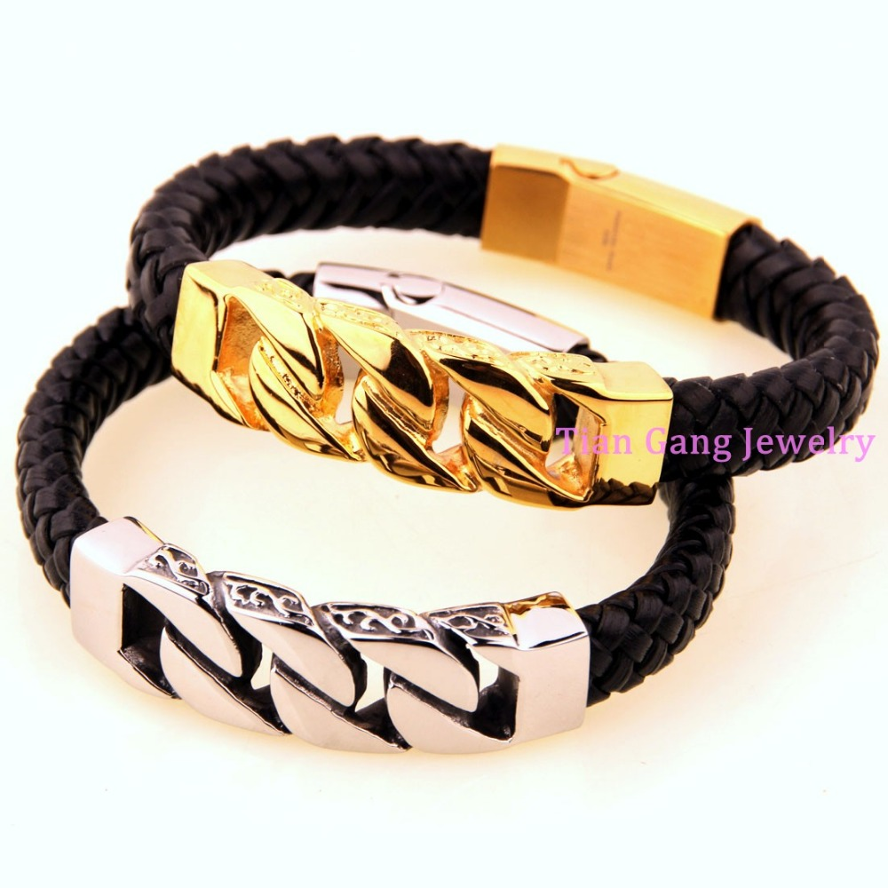 High Quality Titanium Steel Mens Cowboy Chain Braided Leather Bracelets  Bangle Men Jewelry Genuine Leather Bangles