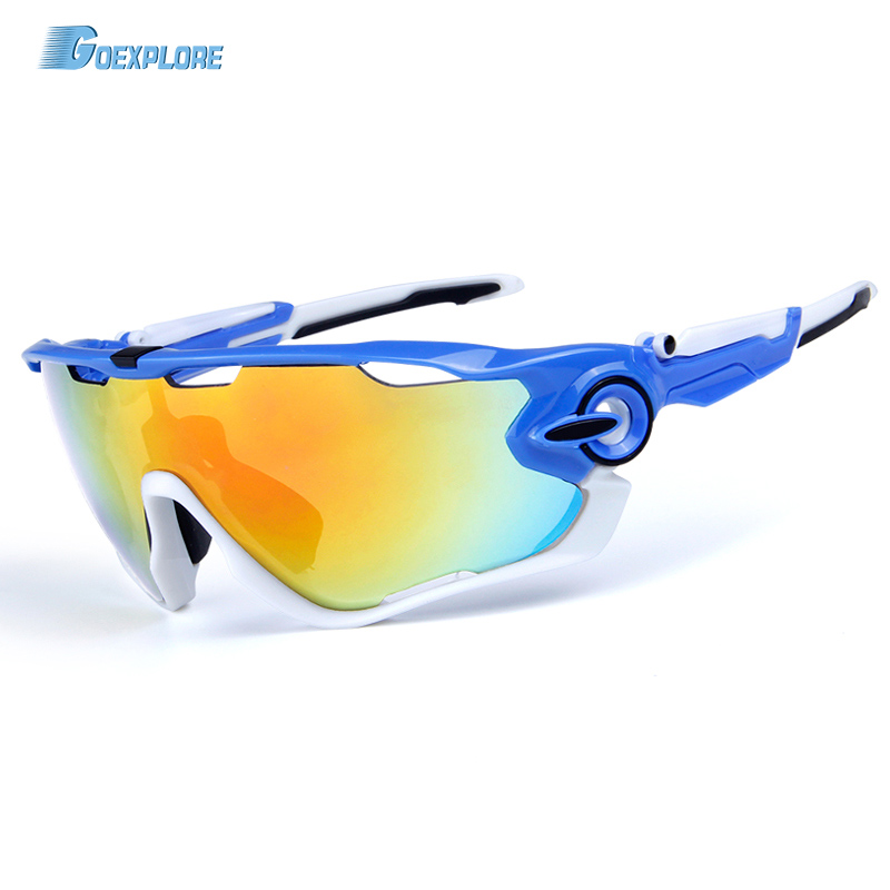Goexplore Polarized Cycling Glasses 3 Lens Bicycle Sunglasses Bike Glasses Eyewear Driving Fishing UV Proof Eyeglass Goggles