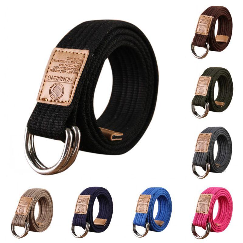 Cinturón de lona con hebilla doble en forma de D para hombres y mujeres, cinturón para exteriores, cintura de moda Unisex para Vaqueros, cinturón Simple y Neutral de nailon