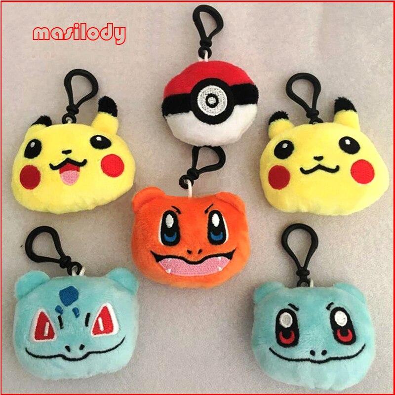 100pcs lot Short Plush Pokemon Keychain Pikachu Key Chain Fur Keyring Elves ball Keyring Johnny Turtle