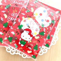 Free shipping Hello Kitty Christmas decoration self adhesive bags DIY gift packing dessert candy cookie bags package favors
