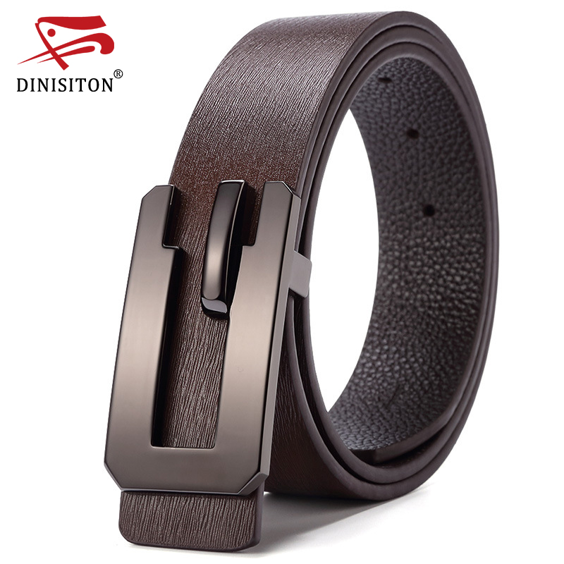 DINISITON Top Layer Cow Genuine Leather Belt For Men Smooth Buckle Strap High Quality Designer Belts Ceinture Homme LU572