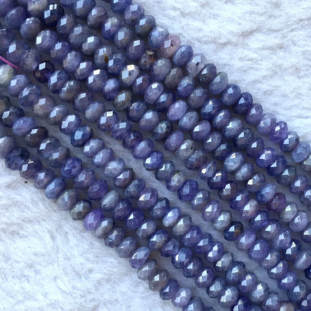 """Faceted Rondelle Tanzanite: Natural Genuine Purple Blue Tanzania Tanzanite Hand Cut Loose Faceted Rondelle Beads 15"""" -in"""