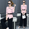 New 2016 Autumn Fashion Set 2 Pcs Women Slim Office Suits Fall Chiffon Unlined Upper Garment Top And  Wide-Legged Pants Suit