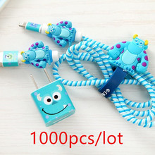 1000pcs/lot Lovely Cartoon USB Cable Earphone Protector Set with Winder stickers Spiral Cord protector For iphone 5 6 6s 7
