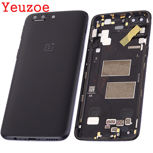 Image 1 - Battery Back Cover For Oneplus 5 A5000 Housing+Power Volume Buttons +sim card for one plus 5 battery cover Replacement no NFC