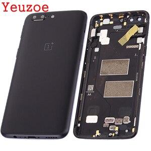 Image 1 - Задняя крышка аккумулятора для Oneplus 5 A5000, корпус + кнопки регулировки громкости питания + sim карта для one plus 5, сменная крышка аккумулятора без NFC
