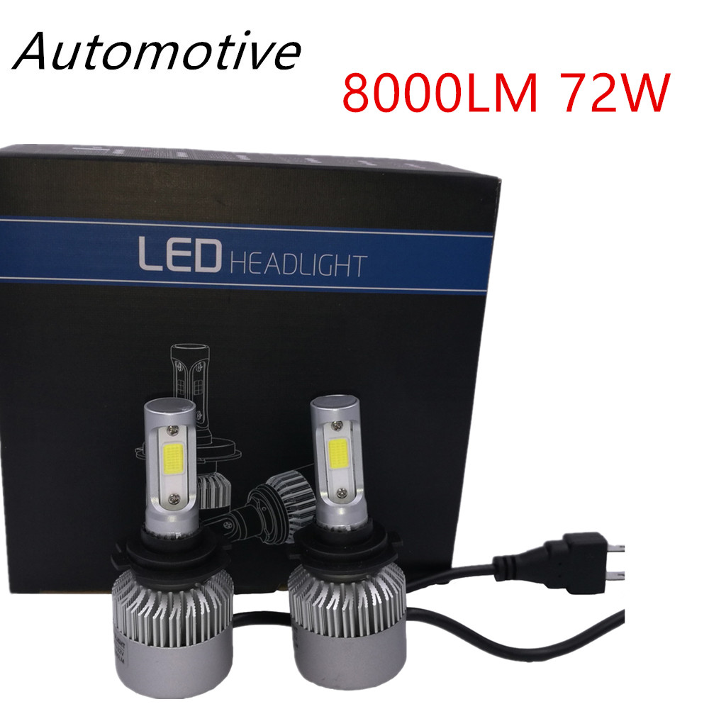 2Pcs Super Bright S2 COB Canbus H7 LED Headlight 72W 8000LM H1 H11 H4 Hi/Lo Car Bulb Headlamp Fog Light 12V Auto Replace HID