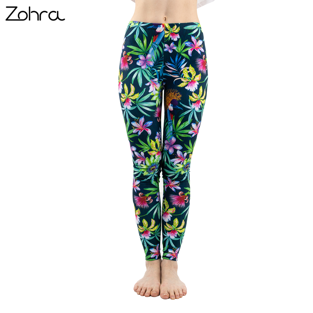 Zohra Fashion Women Trend Green Floral Leaf Flower Pattern   Leggings   Sexy Elasticity Fitness Slim Bottoms Workout Pants