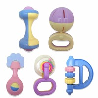 Treeby Plastic 5PCS Set Baby Hand Shake Bells Ring Jingle Baby Rattles Toy Early Educational For