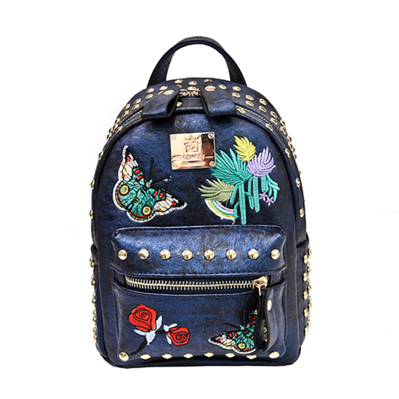 Korean version of the tide 2018 new retro embroidery rivets backpack casual wild multi-purpose small bag 27