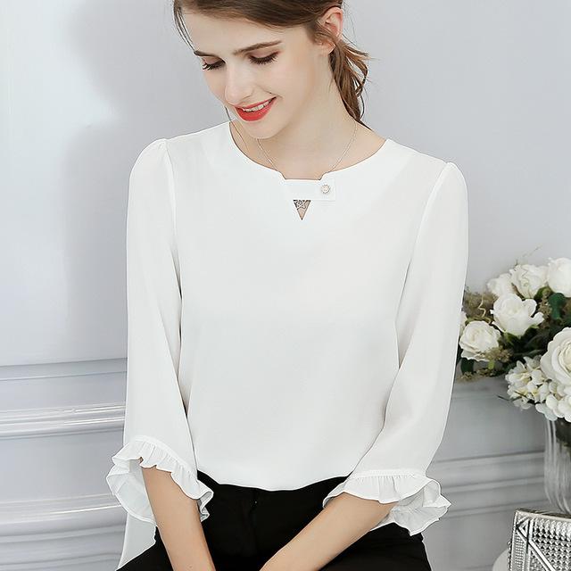 Women Ruffles Sleeve Casual Chiffon Blouse Summer 2019 Korean Fashion White Shirts Slim Streetwear Elegant Spring Ladies Tops