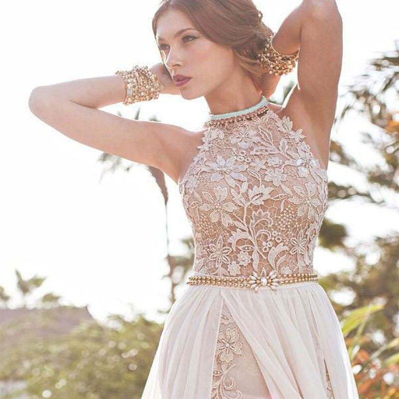 Liyuke Graceful Correa Backless Delantero de Split Vestido Formal Con Cristales
