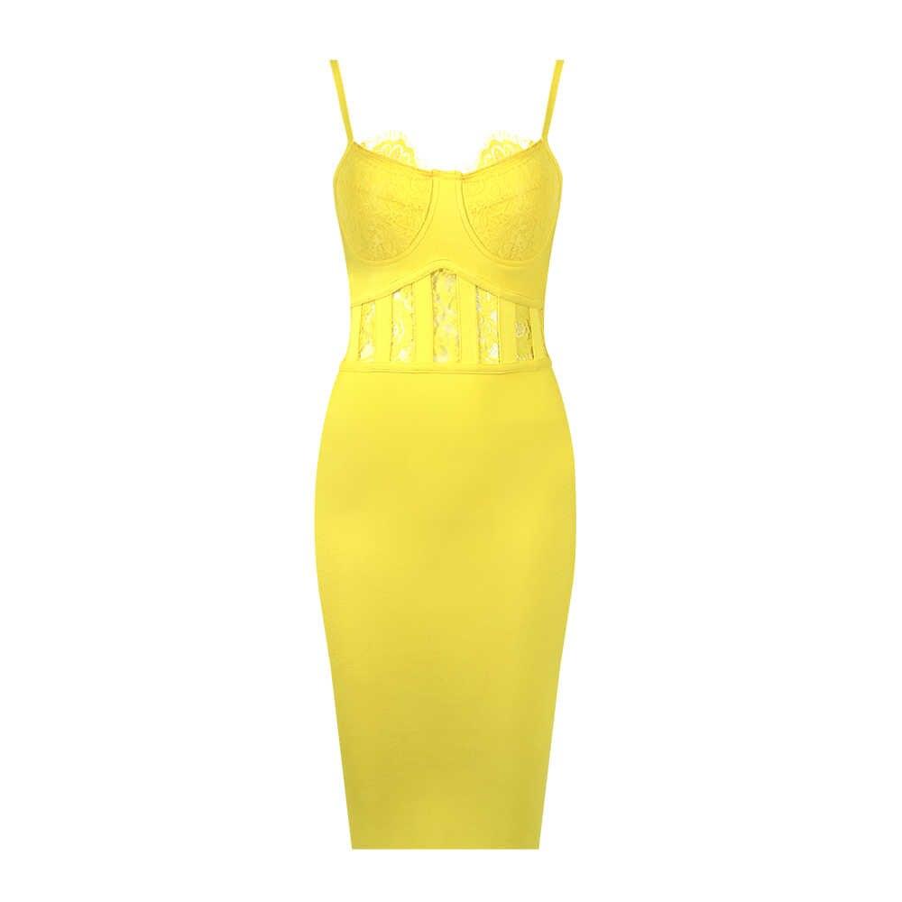 Бесплатная доставка, Летний стиль, Сексуальное желтое кружевное женское Бандажное платье 2019, дизайнерское модное вечернее платье знаменитостей, Vestido