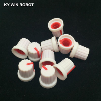 10PCS /lot Red Volume Control Rotary Knobs For 6mm Dia Knurled Shaft Potentiometer Durable 10pcs colorful rotary volume crystal control vintage plastic knob 32x14mm for 6 35mm shaft