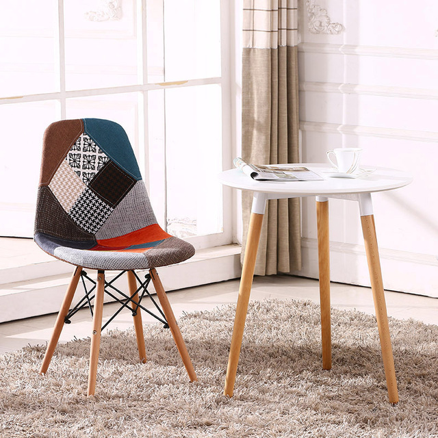 Multicolor Modern Upholstered Style Side Fabric Chair Dining Patchwork Multi Pattern Natural Wood Leg