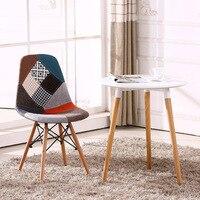 Renkli Modern Döşemeli Tarzı Yan Kumaş Sandalye Yemek Sandalye Patchwork Çok desen Doğal Ahşap bacak Yemek Odası Sandalye