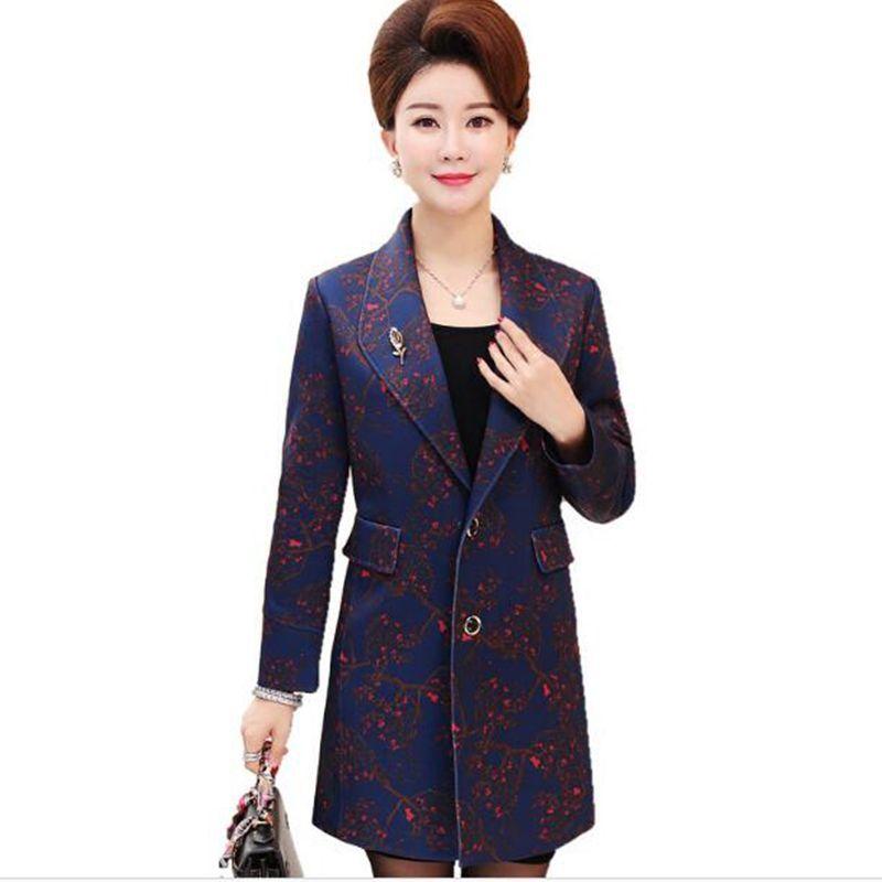 Spring And Autumn Jacket Women long Blazer 2018 New Slim Fashion Single-breasted Blazer Women Printed Large size XL-4XL Blazer