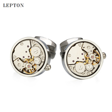 Newest Functional Watch Movement Cufflinks For Mens Stainless Steel Silver Color Steampunk Gear Watch Mechanism Cuff links