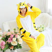 Flannel Autumn Female Conjoined Animal Pajamas Cartoon Yellow Tiger Long Sleeve Large Size White Yellow Tiger Cartoon Cute