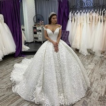 NCDIMS Vintage Wedding Dress Ball Gown Court Train