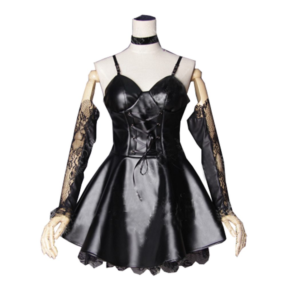 Black leather uniform gloves - 2017 Death Note Misa Amane Imitation Leather Dress Sexy Uniform Cosplay Costumes Dress Gloves