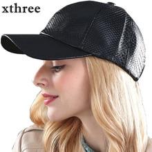 Xthree fashion Baseball Cap women fall faux Leather cap hip hop snapback Hats For men winter hat for women