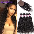 8A Water Wave Virgin Hair Silk Base Closure with Bundles Ali Moda Peruvian Virgin Hair with Closure Wavy Hair Silk Base Closure