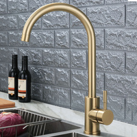 SUS304 Stainless Steel Kitchen Faucet Wire Drawing Gold brushed Tank Cold and Hot Water Faucet Factory Direct Sales