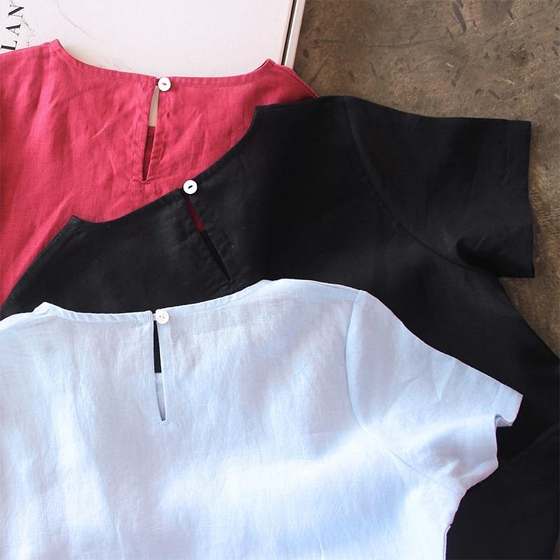 LinenAll originele vrouwen 100% linnen korte mouwen Franse vrouwen jurk met O hals EEN losse comfortabele koele jurk gewaad - 4
