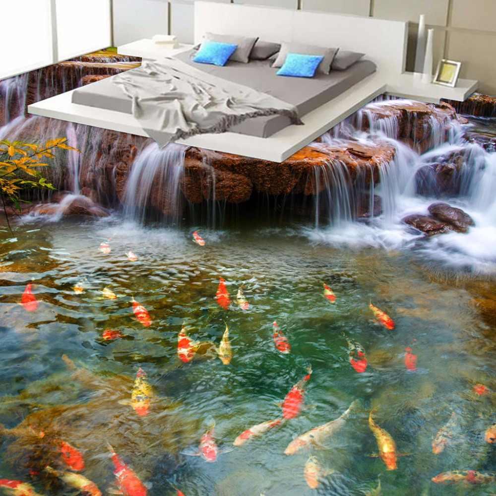 Papel pintado personalizado 3D piso cascada carpa baño suelo Mural pinturas 3D PVC autoadhesivo pared papel pintado impermeable