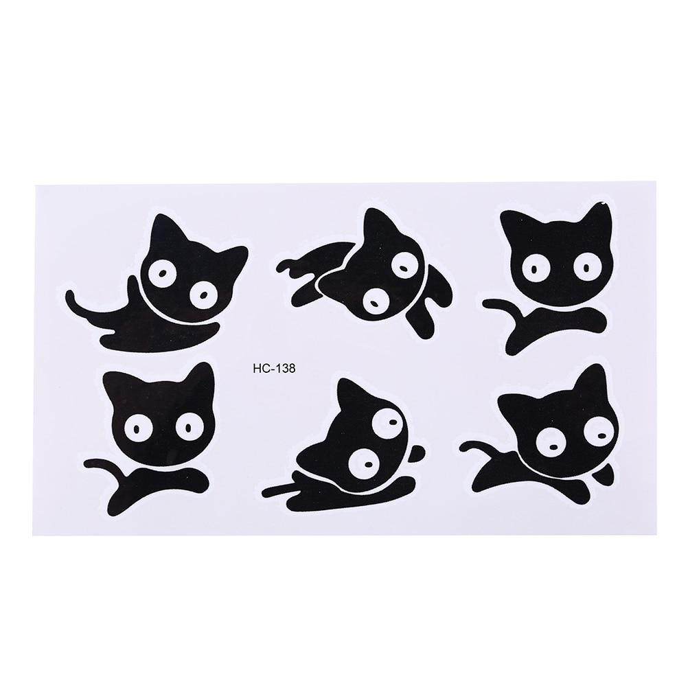 Temporaire Corps Arts Flash Tatouage Henne Xha Tatoo Petit Chat Noir