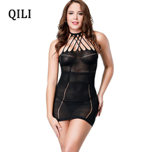 QILI Nightclub Sexy Dress For Women Halter Hollow Out High Elasticity See Through Sleeveless Mini Dresses Club Wear Black Dress sexy stand collar see through sleeveless dress for women