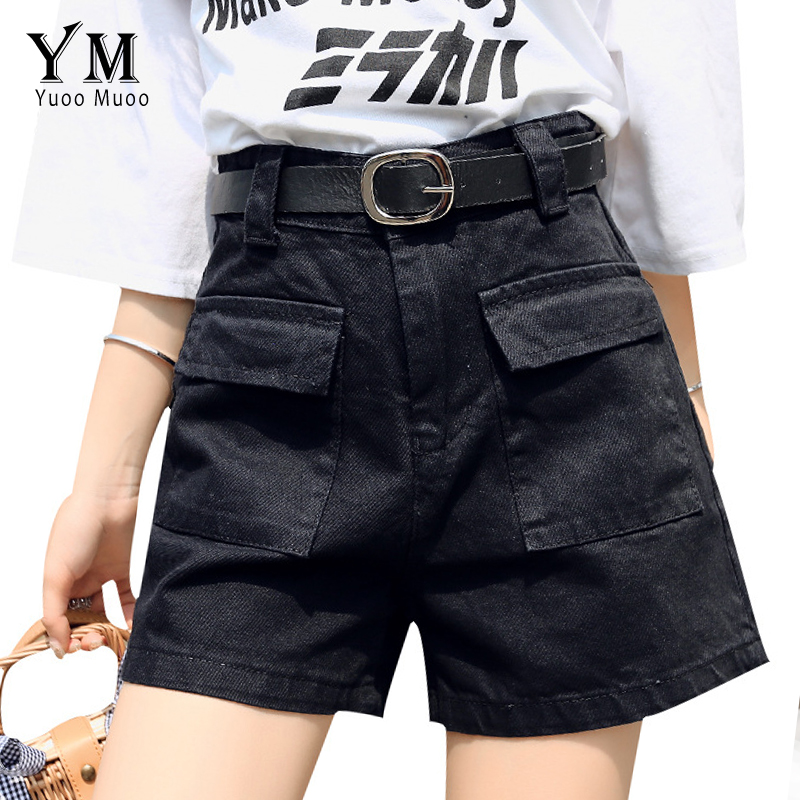 YuooMuoo Streetwear Cargo Shorts Women 2019 Two Pockets Casual Joggers Black High Waist Plus Size Hot Pants Women Korean Shorts