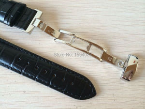 Image 3 - 19mm (Buckle18mm) PRC200 T17 T41 T461 High Quality Silver Butterfly Buckle + Black Genuine Leather Watch Bands Strap
