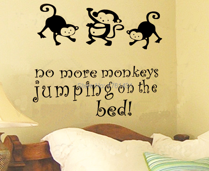 No More Monkey\'s Jumping on the Bed wall decals vinyl stickers home ...