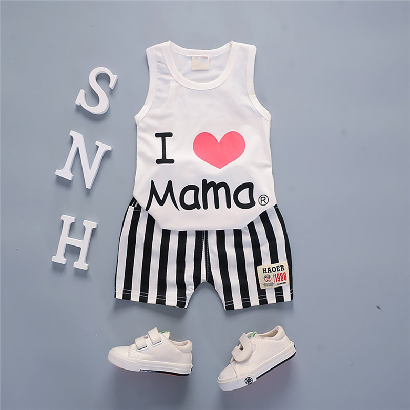 Summer 2Pcs Baby Clothes for Boys Girls Sleeveless Letter Print Vest Tops+Striped Shorts Suits Casual Outfits Sets