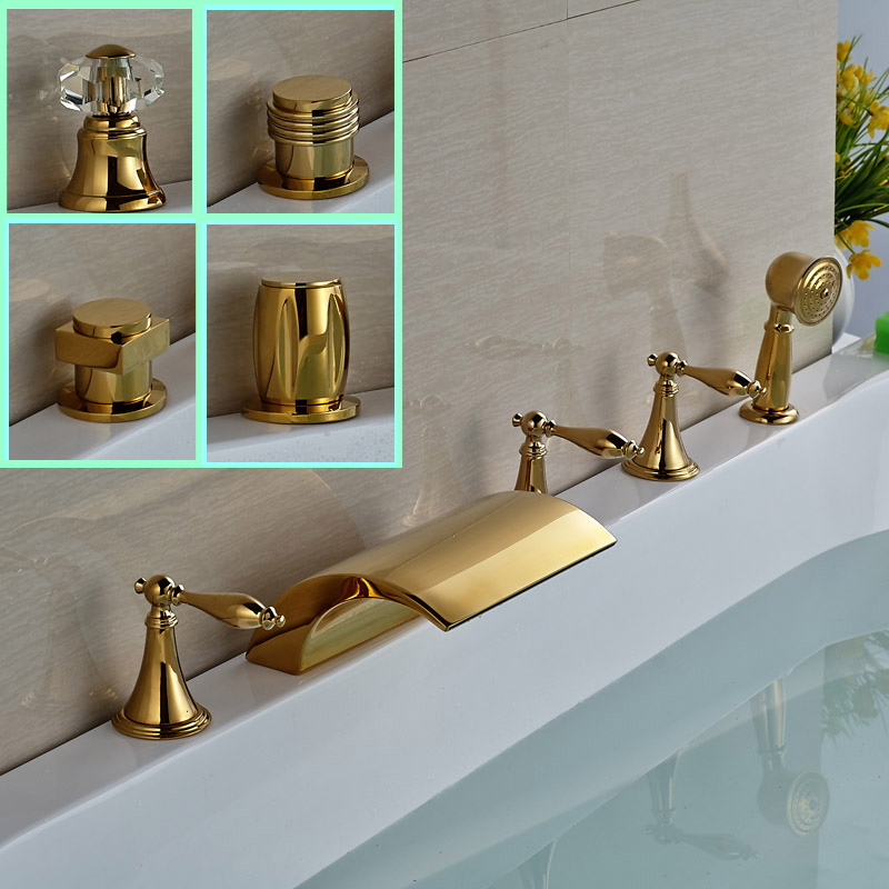 Luxury Widespread Brass Bathtub Faucet 5pcs Golden Tub Mixer Tap with Handheld Shower Deck Mounted