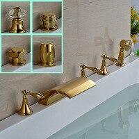 Роскошные широкое латунный Смеситель для ванны 5 шт. Золотой Ванна смеситель с ручной душ на бортике